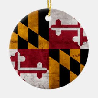 Drapeau vintage patiné d'état du Maryland Ornement Rond En Céramique