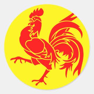 Drapeau wallon (de la Belgique) Sticker Rond