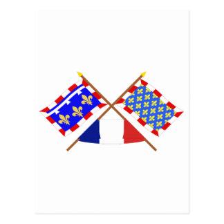 Drapeaux croisés de centre et d'Indre-et-Loire Carte Postale