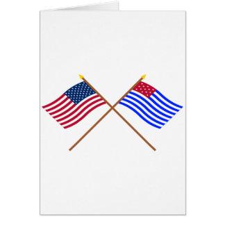 Drapeaux croisés de commerçant de tissus des USA Carte De Vœux