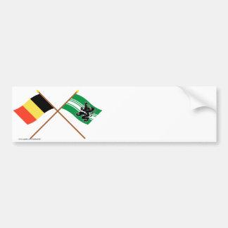 Drapeaux croisés de la Belgique et de la Autocollant De Voiture