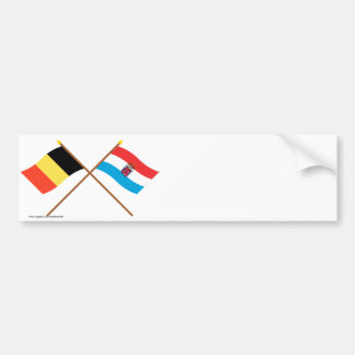 Drapeaux croisés de la Belgique et du Autocollant De Voiture