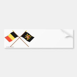 Drapeaux croisés de la Belgique et du Brabant Autocollant De Voiture