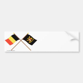 Drapeaux croisés de la Belgique et du Brabant flam Autocollant De Voiture