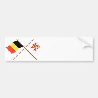 Drapeaux croisés de la Belgique et du Limbourg Autocollant De Voiture