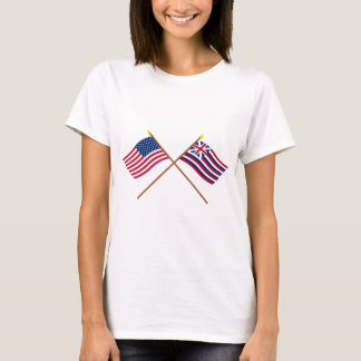 Drapeaux croisés des USA et de Lexington de T-shirt