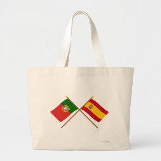 Drapeaux croisés du Portugal et de l'Espagne Sac En Toile Jumbo