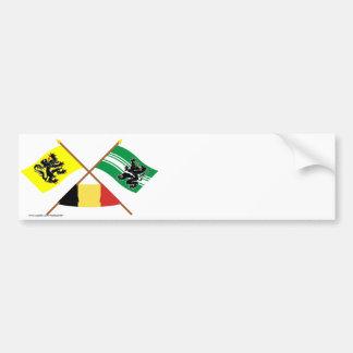 Drapeaux croisés W Belgique de la Flandre et de la Autocollant De Voiture