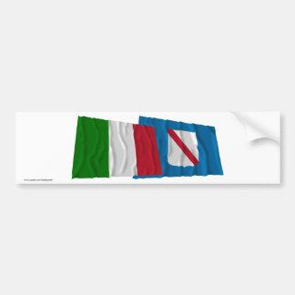 Drapeaux de ondulation de l Italie et de la Campan Autocollants Pour Voiture