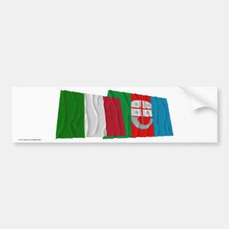 Drapeaux de ondulation de l Italie et de la Liguri Autocollant Pour Voiture