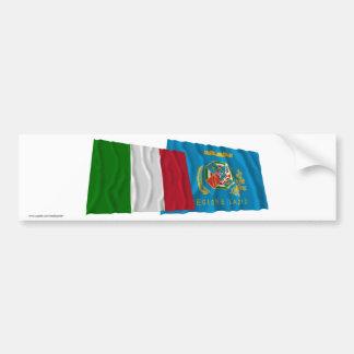 Drapeaux de ondulation de l Italie et du Latium Adhésifs Pour Voiture