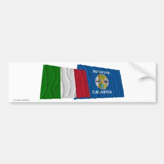 Drapeaux de ondulation de l'Italie et de la Calabr Adhésif Pour Voiture