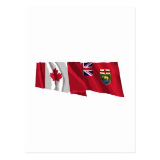 Drapeaux de ondulation du Canada et du Manitoba Carte Postale