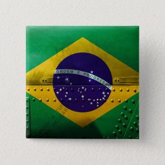 Drapeaux de pays affligés | Brésil Badge Carré 5 Cm