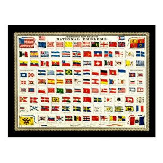 Drapeaux des pays - diagramme vintage carte postale