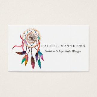 Dreamcatcher de Bohème en peinture vibrante Carte De Visite Standard