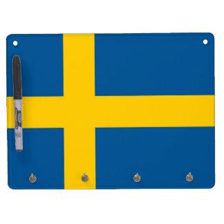 Droog wis Raad met Vlag van Zweden Whiteboard Met Sleutelhanger