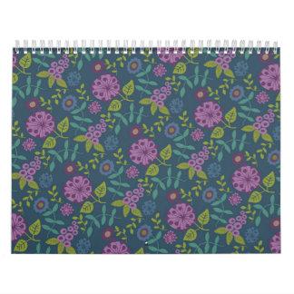 Druk van de Bloem van Mod. van de paarse Olijf de Kalender