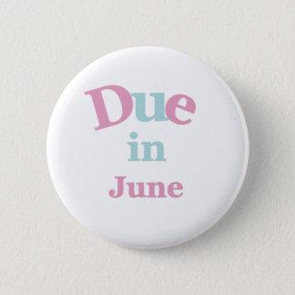 Dû rose en juin badge rond 5 cm