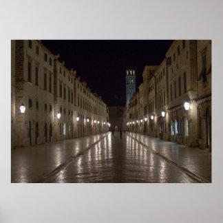 Dubrovnik Kroatië bij Nacht Poster
