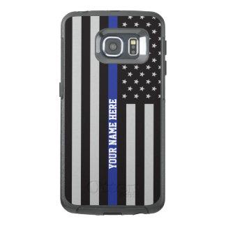 Dun Blue Line - Amerikaanse Vlag Gepersonaliseerde OtterBox Samsung Galaxy S6 Edge Hoesje