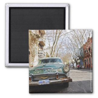 D'une vieille la couleur rouillée et floconneuse v magnet carré