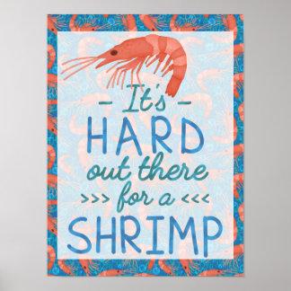 Dur drôle là pour une plage nautique de crevette poster