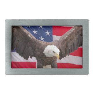 Eagle chauve avec le drapeau américain boucles de ceinture rectangulaires