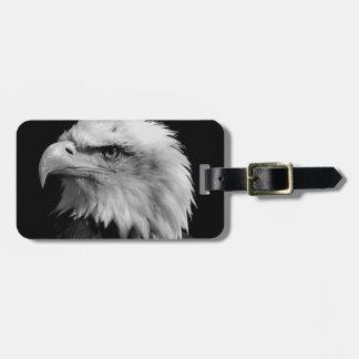 Eagle chauve noir et blanc étiquette à bagage