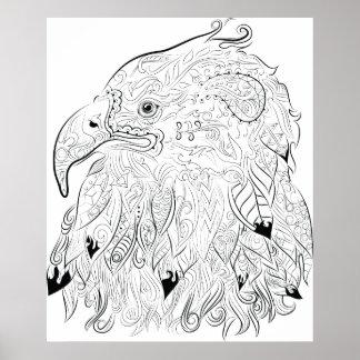 Eagle dessinant l'affiche adulte de coloration