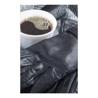 Écharpe grise de laine et gants en cuir papier à lettre personnalisé