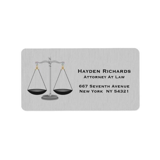 Échelles de justice de mandataire d'avocat étiquette d'adresse