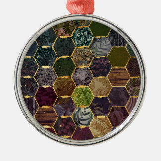 échelles de sirène de nid d'abeilles ornement rond argenté