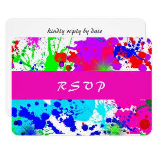 Éclaboussure au néon de peinture, carte de réponse
