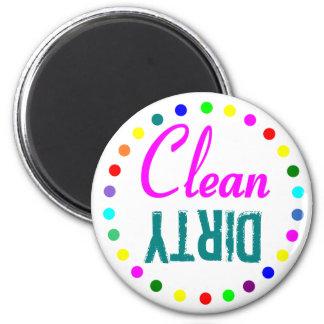 Éclaboussure de lave-vaisselle propre et sale de c magnet rond 8 cm