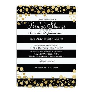 Éclaboussures et rayures modernes élégantes d'or carton d'invitation  12,7 cm x 17,78 cm