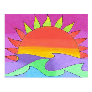 Éclair vert en carte postale rose de ciel