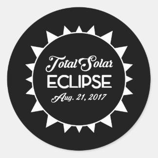 Éclipse solaire totale le 21 août 2017 noire et sticker rond