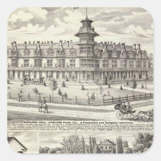 École, entreprises et résidences à Highland Park Sticker Carré