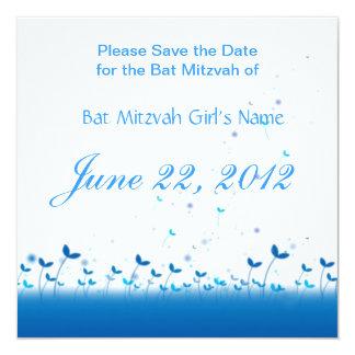 Économies bleues de bat mitzvah de jardin la date carton d'invitation  13,33 cm