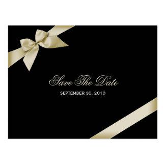 Économies crèmes de mariage de ruban la date 2 carte postale