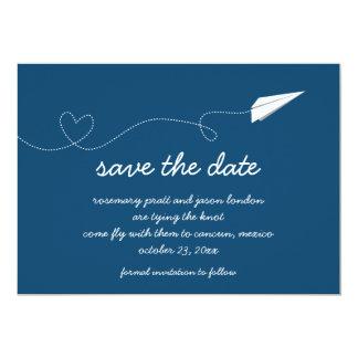 Économies d'avion de papier la date carton d'invitation  12,7 cm x 17,78 cm