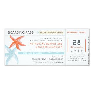 économies de carte d'embarquement de billets carton d'invitation  10,16 cm x 23,49 cm