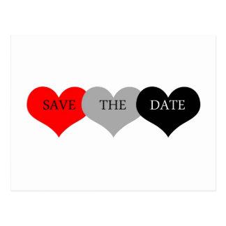 Économies de coeur la date carte postale