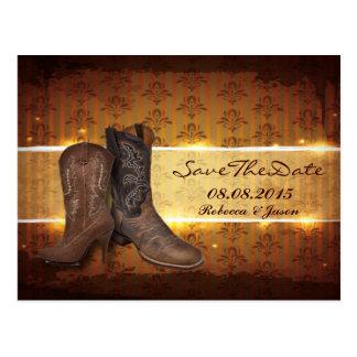 économies de mariage de cowboy de pays occidental cartes postales