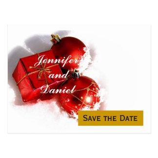 Économies de mariage de décembre le faire-part de carte postale