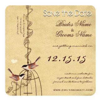 Économies de mariage de parchemin de cage à carton d'invitation  13,33 cm