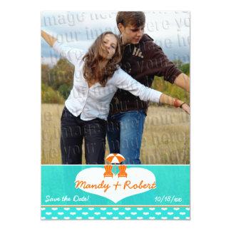 Économies de mariage de photo de chaise de plage carton d'invitation  12,7 cm x 17,78 cm