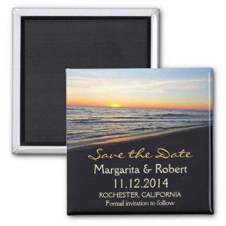 économies de mariage de plage le magnet de date magnet carré