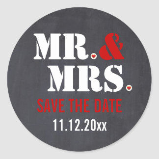 Économies de mariage de typographie de M. et de Sticker Rond